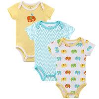 3Pcs/Lot Short Sleeve Baby Bodysuits 100% Cotton Baby Boys & Girls Bodysuits Summer Newborn Bodysuits Baby Clothes Free Shipping