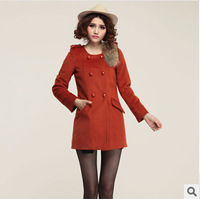 2014 Europe and American Popular Streetwear Winter Coat Women, New Arrival Slim Woollen Coat