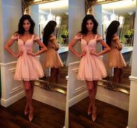E3350 2014 Sexy off the shoulder knee length pink short prom dress