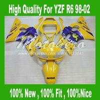 Pre_drilledYellow blue YZF R6 Fairing for Yamaha YZF R6 1998-2002 YZFR6 98-02 YZF R6 98 1999 2000 2001 02 Fairings kit #I6657