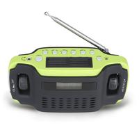 Portable Solar Dynamo Powered AM/FM Radio Hand Crank  Flashlight Clock Phone Charger
