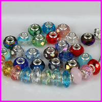 Wholesale 100pcs Fashion Round Big Hole Crystal Glass Spacer Mixed Color Faceted Beads Fit Charm Bracelet Jewelry Fitting