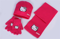 EuropeStyle children girls knitted KT cat caps kids winter Scarf, Hat & Glove Sets fit 1-5 years rose red