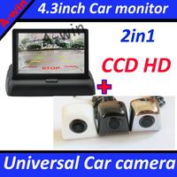 CCD HD universal car rear view backup camera ar parking camera and 4.3 inch  Foldable monitor car mirror monitor