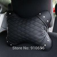 2X 2014 High quality Auto DAD rhinestone leather soft headrest neck pillow Car Seat cover black Head support Cushion Headrest