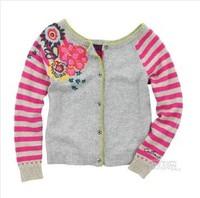 2014 new autumn coat girls gray positioning embroidery cardigan sweater flower girl's overcoat kids wear