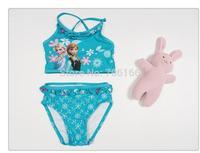 Frozen princess kids swimwear, summer cotton Girls Swimsuit  ,two pieces child bathing suit ,  free shipping