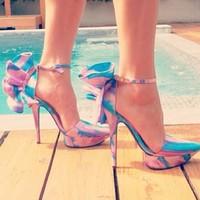 2014 women pumps high heel elegant bow female sandals wedding shoes