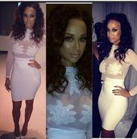 2014 hot sale fashion women party white dress Slim long sleeve bandage dress sexy tight dress elegant  chest hand stamp