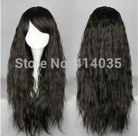 new COS Kanekalon Hair Wig Lolita Fashion Long Black Harajuku Style Curly wigs human no Lace Front Kanekalon Wigs free shipping
