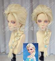 COS wig Onsale Frozen Snow Queen Elsa Princess Blonde Weaving Braid Cosplay  human no Lace Front Kanekalon Wigs free shipping