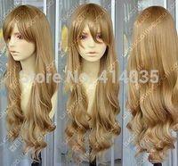 """30""""COS Harajuku Kanekalon Hair Wig Long Cosplay Wavy Dark Blonde full Curly human no Lace Front Kanekalon Wigs free shipping"""