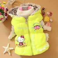 1Retail,New 2014 Children's vest,children's outerwear hellokitty Girl Hooded cotton vest girls clothing,Lace Hat detachable vest