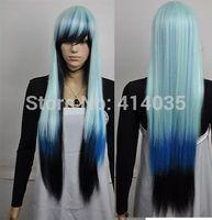 """35"""" Cos Harajuku black blue mixed cosplay wig long straight Kanekalon Hair wigs human no Lace Front Kanekalon Wigs free shipping"""