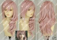 """30"""" Kanekalon Hair Wig Final Fantasy XIII Lightning Pink Long wavy Curly wigs human no Lace Front Kanekalon Wigs free shipping"""
