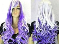 COS Kanekalon Fiber Mixed Color COSPLAY Costume Party Long Wavy Wig wigs 70cm human no Lace Front Kanekalon Wigs free shipping