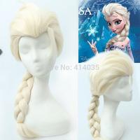 VOCALOID Miku Kanekalon Onsale Frozen Snow Queen Princess Blonde Weaving Braid human no Lace Front Kanekalon Wigs free shipping