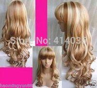 VOCALOID MIKI NEW- Stylish long blonde women's wig human no Lace Front Kanekalon Wigs free shipping