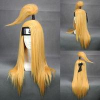 COS Kanekalon Hair Wig Akatsuki Deidara Blonde Cosplay Wig Costum full wigs human no Lace Front Kanekalon Wigs free shipping