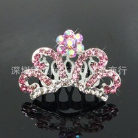 2014 Sale Real Hair Jewelry Frozen Anna Elsa Crown Beautiful Fashion Popular Comb 4 Colors 10pcs/lot Mixed Styles Fast Shipping