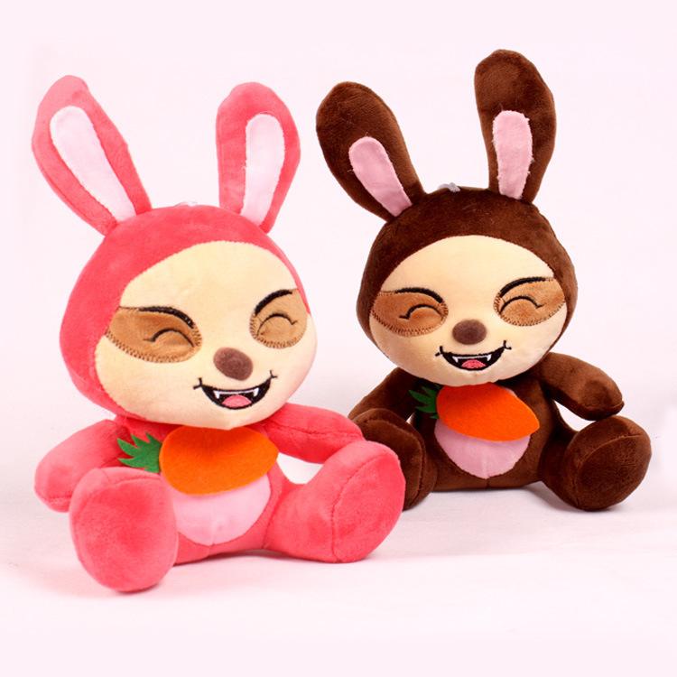 2pcs/Lot Toys Laugh Rabbit Wedding Dolls Promotion Plush Toy Easter Gift(China (Mainland))