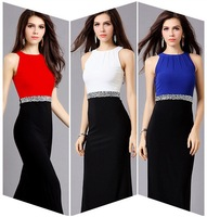 FREE SHIPPING Women's fashion long design formal dress three-color