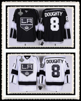 Free Shipping Wholesale #8 Drew Doughty Jersey With 2014 Final Patch,Los Angeles Kings Black/White Jerseys