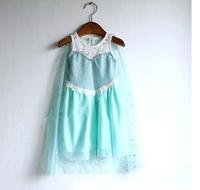 Retail baby girls frozen dress, new 2014 baby & kids summer dress,fashion Elsa girl dress charming tulle cloak children clothing
