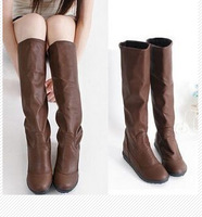 2014 new single boot Womens tall boots round toe Increased high boots, flat heel slip-resistant boots for women plus size