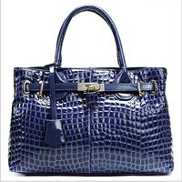 Spring/summer 2014 new tide crocodile grain patent leather leather handbag ms portable cow leather bag Women messenger bag RL075
