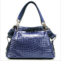 The new spring and summer 2014 crocodile grain patent leather leather handbag leather hand the bill of lading shoulder bag RL074