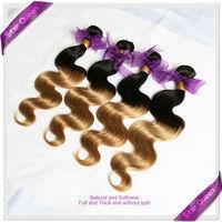 HOT Ombre Malaysian hair extensions two tone black/gold Landot Malaysian virgin hair body wave 4pcs lot Ombre human hair weaves