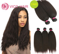 Brazilian Virgin Hair Kinky Straight 3pcs/lot Unprocessed 6A Coarse Yaki Human Hair Extensions Hair Weave