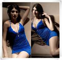 Hot! 2014 Blue Lace Button Sexy Lingerie Fantasia Erotil Pajamas Underwear Costumes Sleepwear Dress Set For Women Free Shipping