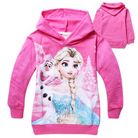 1PCS New Children Hoodies & Sweatshirts Frozen Elsa&Anna Autumn Children Outerwear Hoodies Velour Casual Girls Hoody Y20