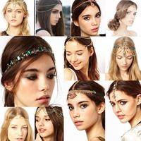 1pcs Women Fashion Metal Rhinestone Tassel Head Chain Jewelry Headband Head Piece Hair band Accessories16 Styles U Pick