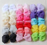 "4"" chiffon bow hair bows girls bows Shabby Chic bows 16 colors free shipping"