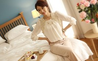 2014 Women Office Vintage Chic Embroidery Lace Pleated sheer Long Sleeve Summer chiffon Blouse  for Ladies