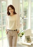 2014  hot sales Hollow out spring Blouse Flowers Lace Chiffon pearl Women Lady Tops Shirt Summer Embroidery flowers