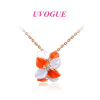 New style top quality 18k rose gold plated rhinestone orange flower romantic fashion pendant necklace jewelry (UVOGUE UN0121)