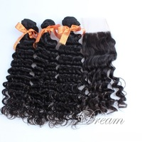 Peruvian Virgin Deep Wave Hair Weft Swiss & France 4*4 Top Lace Closure Good Quality Human Hair Extensions UPS/DHL Free Shipping