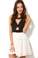 2014 summer women bow bandage backless sexy dresses women's patchwork club V-neck dress L1179
