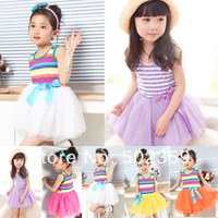 Vestido Baby Rainbow Dress Girl Tutu Dresses Childreen Stripe with Bowknot 5 Size*5 Colors Available 1pcs Retail Free Shipping