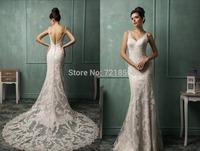 qn-61 new elegant beads crystal appliques v-neck spaghetti strap mermaid open back long zuhair murad wedding dress china 2014