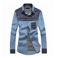 2014 New Casual Korean Style Men Shirts/Summer Slim Long Sleeve Shirts For Men/Fashion Denim Shirts For Men