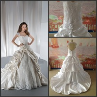 2014 New Arrival Hot Sale Sweetheart Cap Sleeve Appliques Flower In Waist Ball Gown Lace Wedding Dresses Elegant