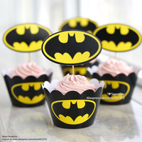 Free Shipping Batman cupcake cake cup wrappers toppers picks for children kids child birthday party favors supplies decorations