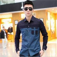 New 2014 Fashion Korean Style Men Shirts/Summer patchwork Long Sleeve Men Shirts/designer Slim Shirts For Men
