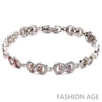 2014 New Design Fashionable AAA Quality Cubic Zircon Bracelet Platinum Plated Bracelet&Bangles For Women (FB-16)