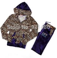 Free Shipping Velvet Tracksuit women girl Leopard Suit Leisure suit homies Hoodies & Pants